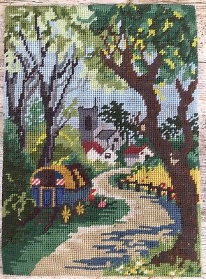 Fab Retro Vtg Completed Tapestry Gypsy Caravan Country Lane & Church Village