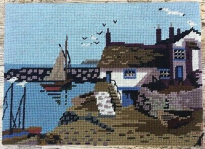 Fab Retro Vtg Completed Tapestry Fisherman's Cottage Harbour Sailing Boat