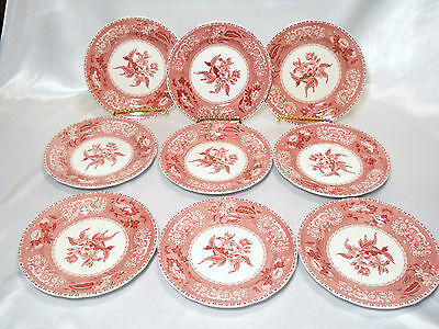 Copeland Spode Camilla Red 9 Salad Or Side Plates Florals & Foliage Earthenware