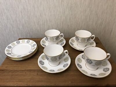 Spode GOTHIC Tea Coffee Cups & Saucer & Side Plates Set x 4 VGC