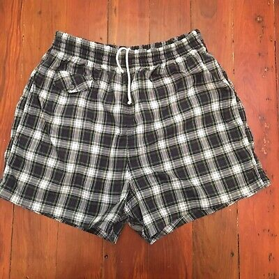 Vintage 60s 70s Mens Swimsuit Trunks Shorts English Shops Bermuda Plaid M Preppy