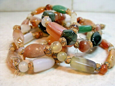 Antique Victorian Carnelian  Moss Agate Stone   Knotted In Between  Necklace