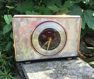 Metamec 1960s Clock, Metamec Mantle Clock, Metamec Mother Of Pearl Clock