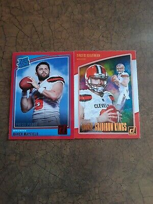 BAKER MAYFIELD 2018 DONRUSS PRESS PROOF RED RC Rated Rookie and Gridiron King