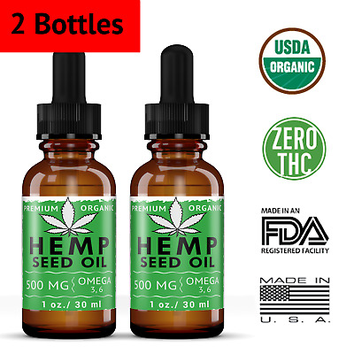 2 Pack Organic Hemp Seed Oil Drops 500 mg Anti-Inflammatory Joint Support