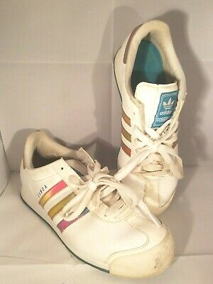brand new f4151 891a0 Adidas Samoa Size 7 Mens Sneakers Rainbow Ombre Metallic Accent White VGUC