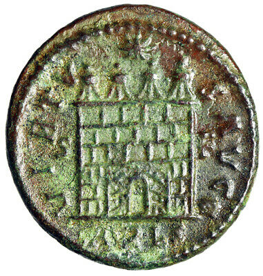 """Constantine I The Great AE20 """"Campgate, Open Doors"""" Arelate RIC 313 Scarce gVF"""