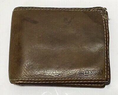 Mens Levis Folding Brown Leather Wallet Light Weight
