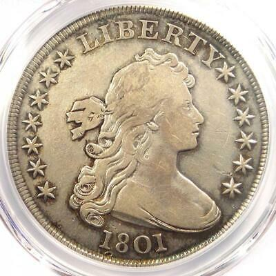 1801 Draped Bust Silver Dollar $1 - Certified PCGS VF Details - Rare Coin!