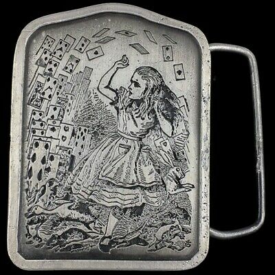 Vtg 1970s NOS Alice In Wonderland Playing Card Looking Glass Belt Buckle
