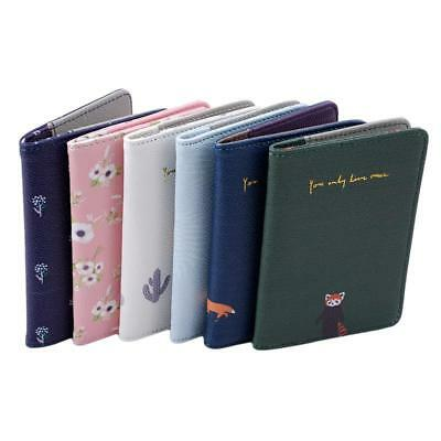 Vintage Animals Flower Faux Leather Travel Passport Holder Cover Wallet WE