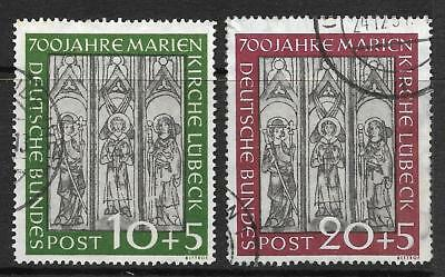 GERMANY 1951 700th ANNIV OF ST MARY'S CHURCH LUBECK SG 1065-66 SET 2 USED.