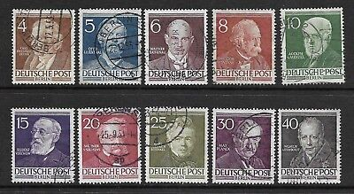 Germany/Berlin 1952-53 Famous Berliners Sg B91-100 Set 10 Used. Cat £65.00.