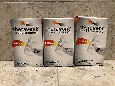 Theravent Snore Therapy Strips, Regula Strength - SET OF (3) 20 ct = 60 Strips!