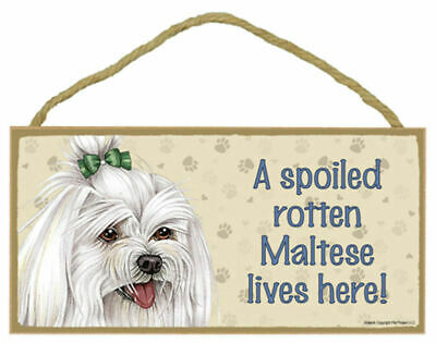 A spoiled rotten Labradoodle lives here Wood Puppy Dog Sign Plaque Made in USA