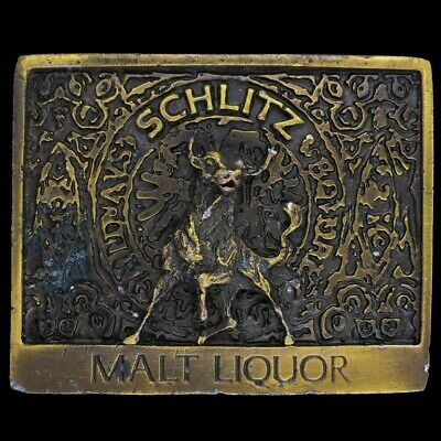 Vtg Schlitz Malt Liquor Beer Raging Bull Belt Buckle
