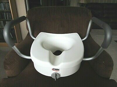 Carex E-Z Lock Raised Toilet Seat with Armrests, Adds 5 Inches to Toilet Height