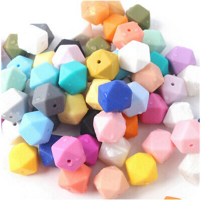 Bulk Hexagon Silicone Beads DIY Baby Chew Necklace Teether Jewelry Teething Toys