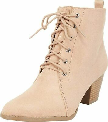 e2e996bcb307a Cambridge Select Women's Chunky Stacked Block Heel Lace-Up Ankle Bootie