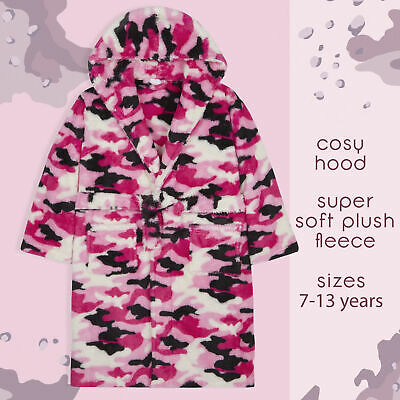 Girls Camouflage Camo Dressing Gown Robe Soft Plush Fleece Hooded Fluffy Snuggle