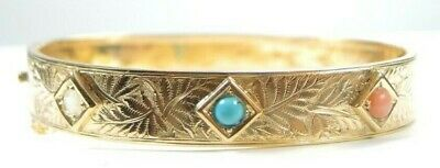 """Antique Art Deco 14K Yellow Gold Bracelet Coral Persian Turquoise Opal IC 6.5"""""""