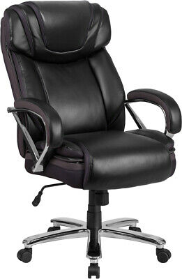 Big & Tall Black Leather Executive Office Chair Extra Wide Seat 500 Lbs Capacity