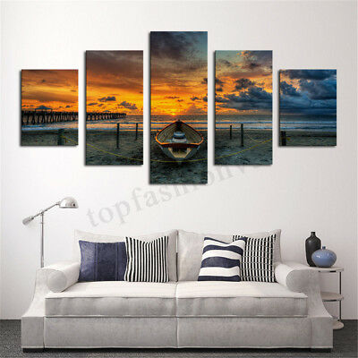 5Pcs Sea Sunset Canvas Print Painting Home Living Room Wall Art Decor