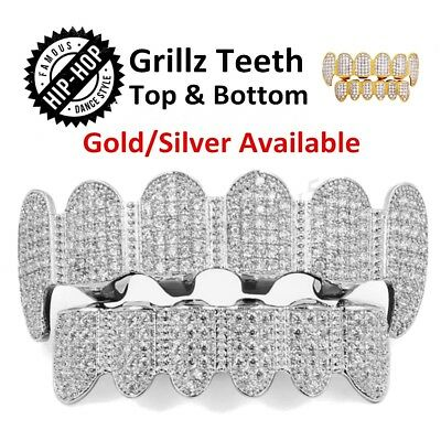 AU Hip Hop Teeth Caps Gold Silver Diamond Plated Tooth Grills Top & Bottom