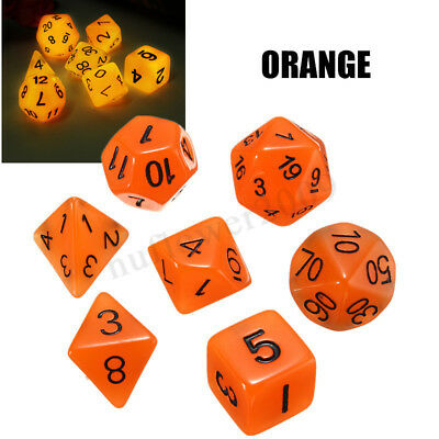 7pcs/Set Luminous DND RPG MTG Playing Game Dungeons & Dragons Dice D4-D20 New