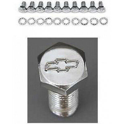 Full Size Chevy Bowtie Timing Chain Cover Bolt Set, Small Block, Chrome,