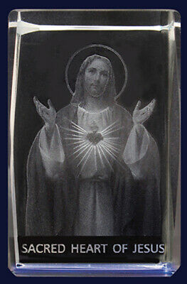 Sacred Heart Lazer Crystal Block Bevelled Edge Engraved 3 D Image Paperweight