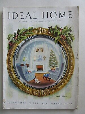 Ideal Home Magazine December 1950 - Adverts Articles Social History Interiors