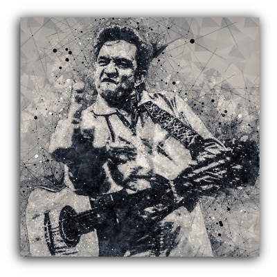 Johnny Cash Canvas Framed Wall Art Print - Geometric - Middle Finger - Square