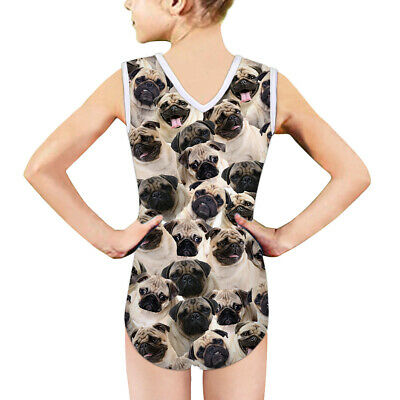 5-14Y Funny Pug Girls Swimsuit Cute Child Bikini Swimwear Sunmmer Bath Swimming
