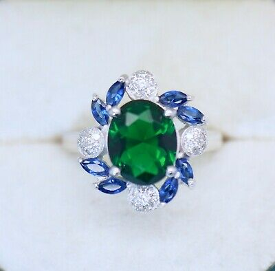 Vintage Jewellery Ring Emerald Blue White Sapphires Antique Dress Jewelry Size P