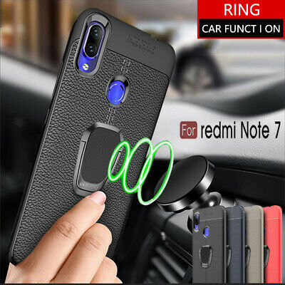 Shockproof Leather Hand Ring Rubber Case Cover For Xiaomi Redmi Note 7/6/5 Pro 6