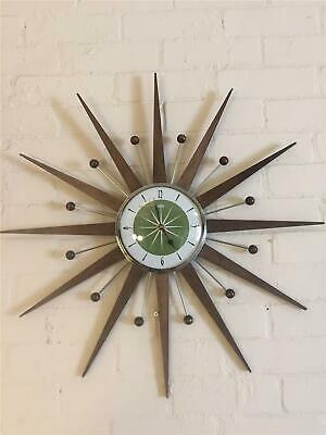 Large Mid Century Welby Style Starburst Clock in Avocado Hand Made in the UK