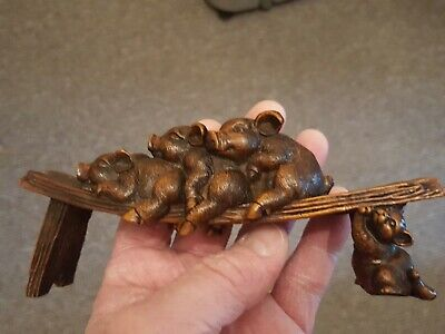 Antique Chinese hand carved Boxwood 3 Pigs Statue