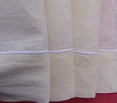 Unused Vintage French Linen Metis Sheet Classic Statin Stitch Hem