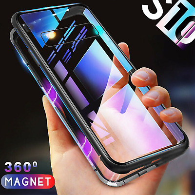 Samsung S8 S9 S10 PLUS Note 8 9 Magnetic Phone case Metal Tempered Glass Cover