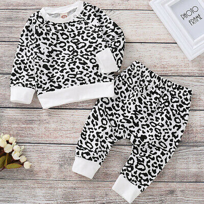 Baby Boy Girl Leopard Print Tracksuit Tops Long Trousers Clothes Outfits 3-24M