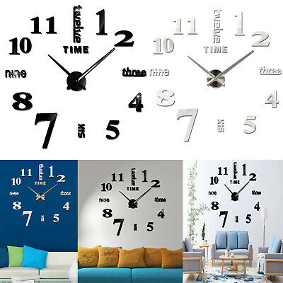 DIY 3D Wall Clock Roman Numerals Large Mirrors Surface Luxury Big Art Clock XL