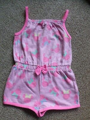 Baby Girls Toddlers Playsuit Minnie Mouse Disney Size 1 - 1.5 Years Pink Ex Cond
