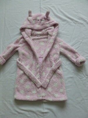 Baby Girl Hooded Dressing Gown Robe Size 18-24 Months F & F Pink With White Star