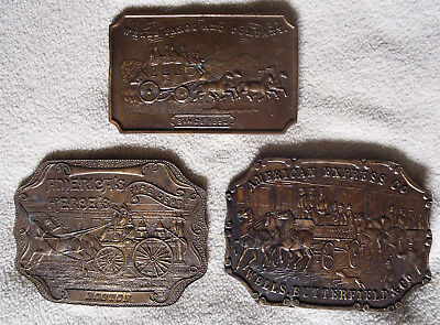 Lot Of 3 Vintage Collectible Brass Horse And Buggy Belt Buckles