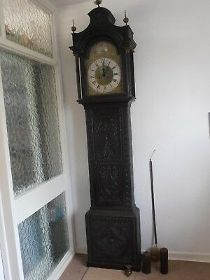 Antique 8 Day Brass Arch Dial Oak Grandfather Longcase Clock ALEX GORDON DUBLIN