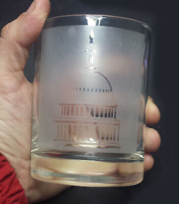 United States Capitol Whiskey Tumbler Glass Etched Image On Glass