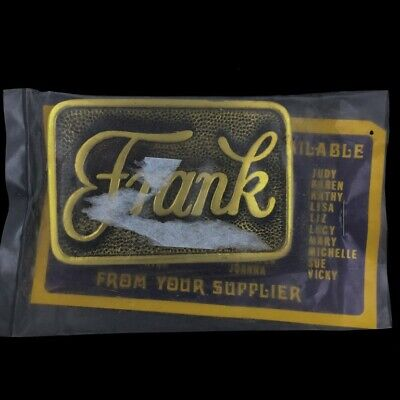Vtg 1970s Frank Name Names Retro Old School Hippie NOS Solid Brass Belt Buckle