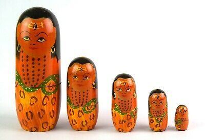Indian Wooden Nesting Doll Hand Painted Ritual Hindu God Shiva Dolls i71-341 AU