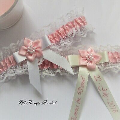 Personalised Bridal Garter. Ivory or white Lace with pink satin trim